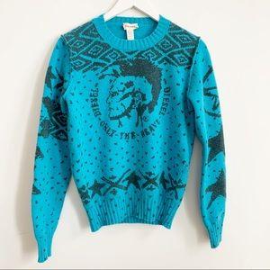Diesel Wool Blend Turquoise Grey Sweater M